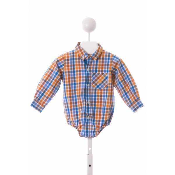 ANDY & EVAN  ORANGE  PLAID  CLOTH LS SHIRT