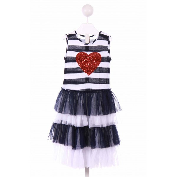 MIA BELLE BABY   NAVY  STRIPED APPLIQUED CASUAL DRESS WITH TULLE