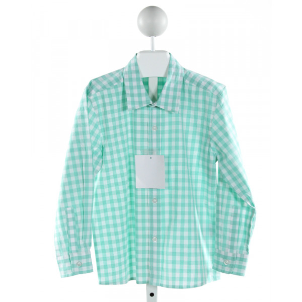 SHRIMP & GRITS  AQUA  GINGHAM  CLOTH LS SHIRT