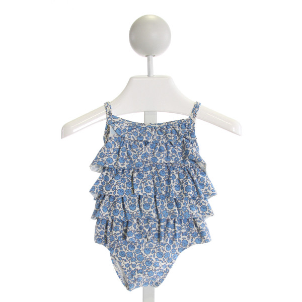 BABY BODEN  BLUE  FLORAL  1-PIECE SWIMSUIT WITH RUFFLE