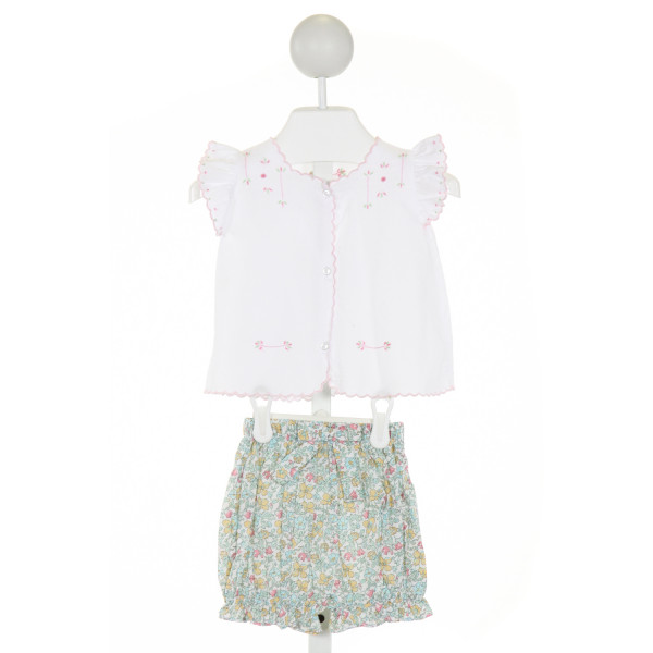 LITTLE ENGLISH  WHITE  FLORAL EMBROIDERED 2-PIECE OUTFIT