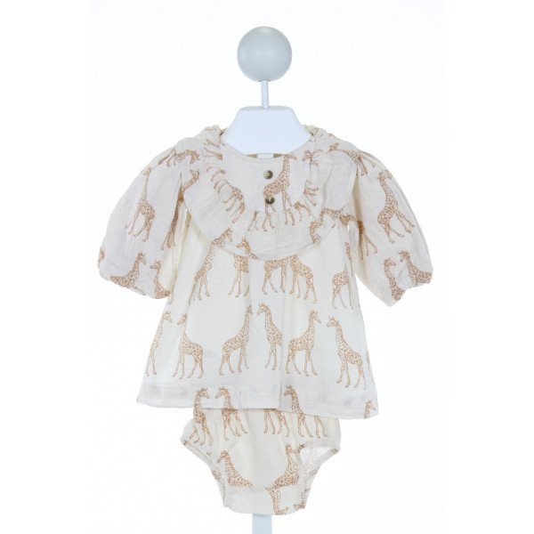 KATE QUINN  IVORY   PRINTED DESIGN 2-PIECE OUTFIT WITH RUFFLE