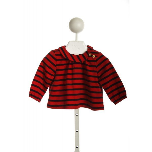 BUSY BEES SIDE PETER PAN COLLARED TOP IN RED/NAVY STRIPE KNIT