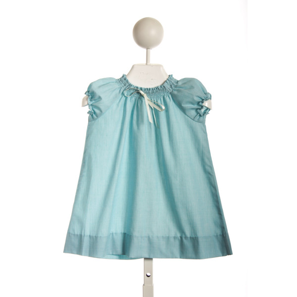 BUSY BEES BABY SMOCKED NECK DRESS IN  AQUA COTTON