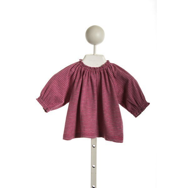 BUSY BEES SMOCKED GYPSY TOP IN PINK GREY STRIPE KNIT