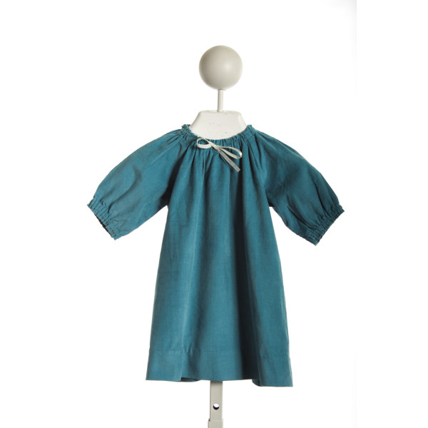 BUSY BEES SMOCKED NECK DRESS IN TURQUOISE CORD