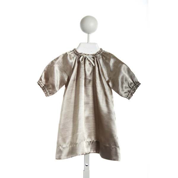 BUSY BEES BABY SMOCKED NECK DRESS IN GOLD SATIN WITH TIE