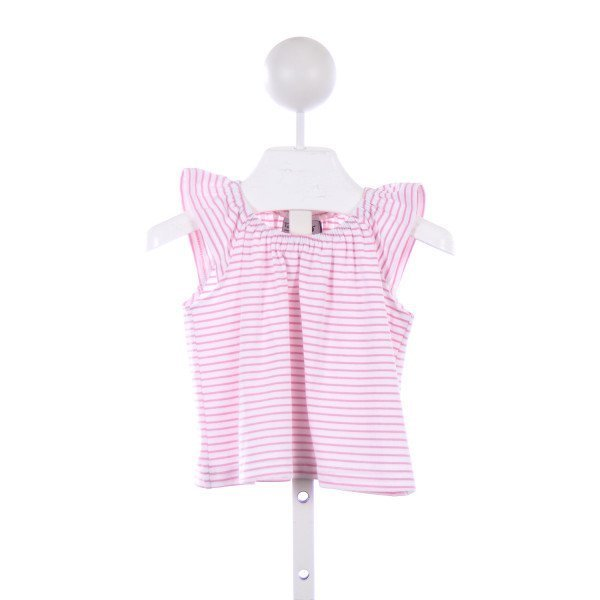 BUSY BEES PINK AND WHITE STRIPED KNIT FLUTTER SLEEVE TOP