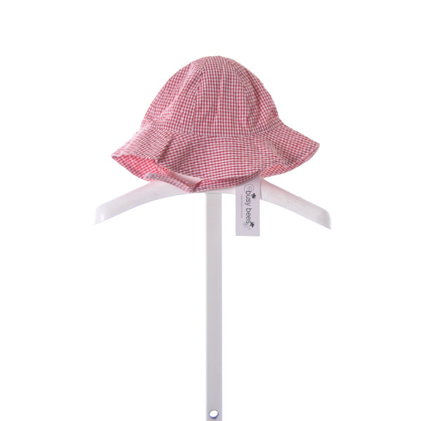 BUSY BEES RED GINGHAM SEERSUCKER SUNHAT *SIZE M=18M
