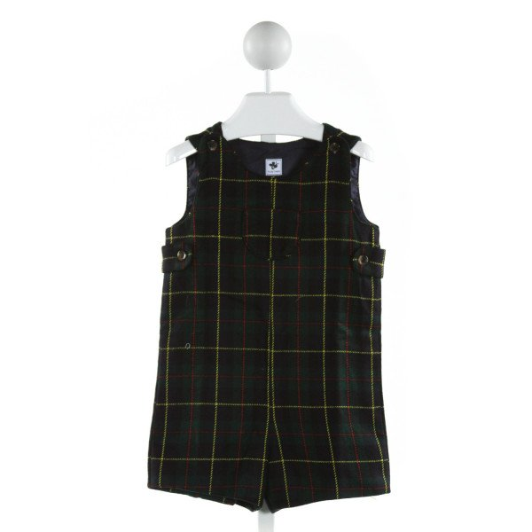 BUSY BEES  GREEN COTTON PLAID  JOHN JOHN/ SHORTALL