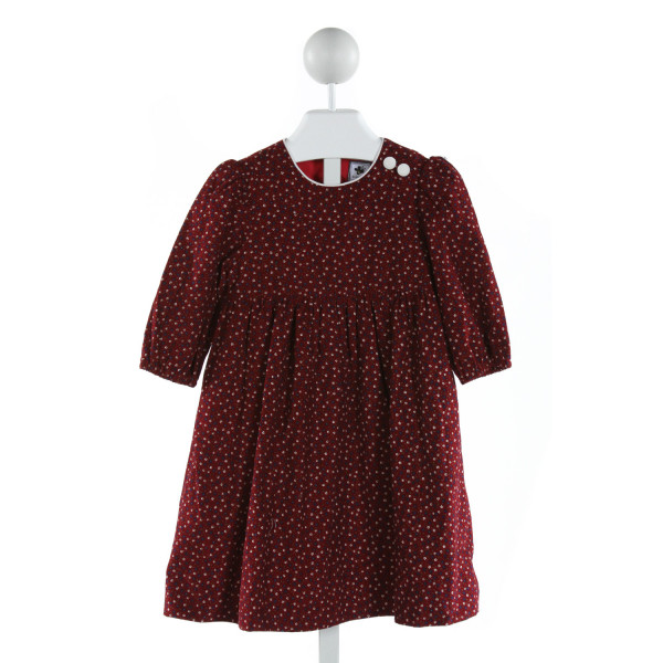 BUSY BEES  RED CORDUROY FLORAL  DRESS