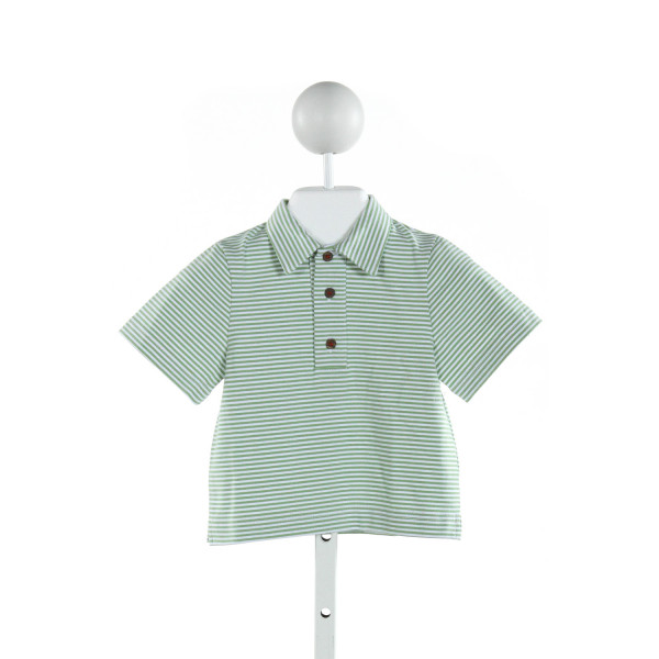BUSY BEES  GREEN  STRIPED  KNIT SS SHIRT