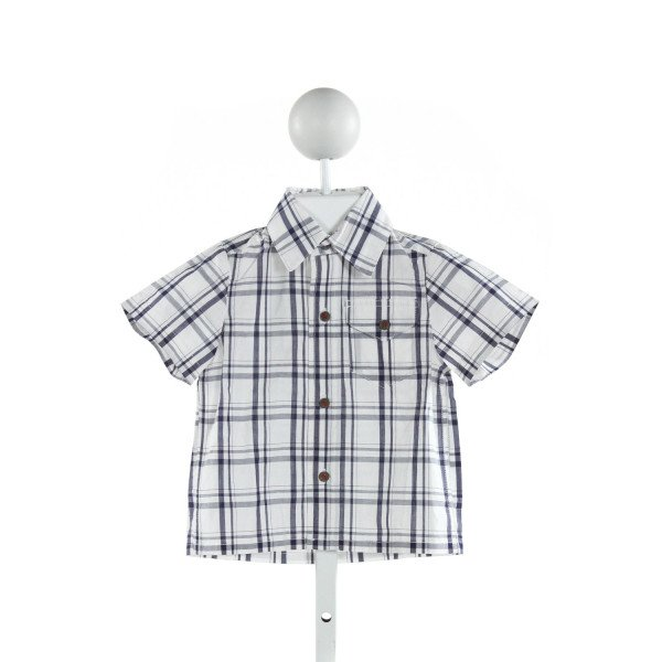BUSY BEES  BLUE  PLAID  CLOTH SS SHIRT