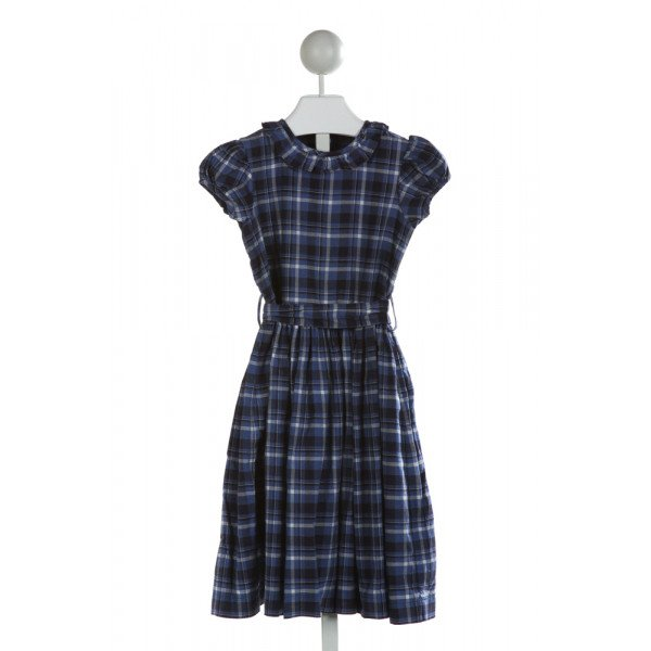 KAYCE HUGHES  NAVY  PLAID  DRESS WITH RUFFLE