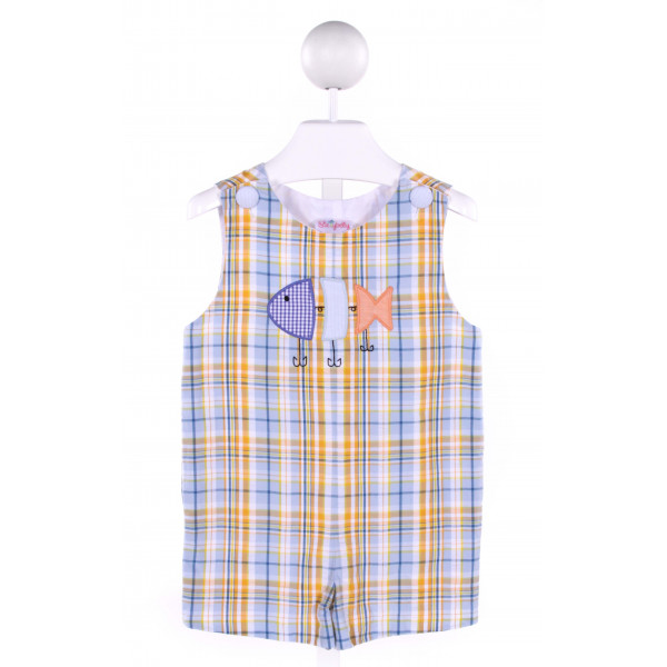 STELLYBELLY  MULTI-COLOR  PLAID APPLIQUED JOHN JOHN/ SHORTALL