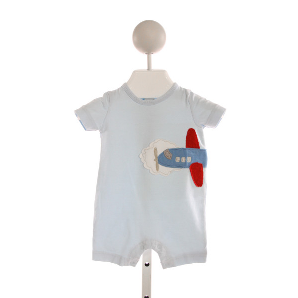 STARTING OUT  LT BLUE   EMBROIDERED KNIT SHORTALL