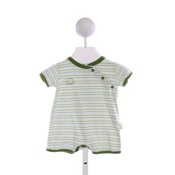 LE TOP  GREEN  STRIPED EMBROIDERED KNIT SHORTALL