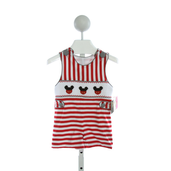 BANANA SPLIT  RED  STRIPED SMOCKED KNIT SHORTALL