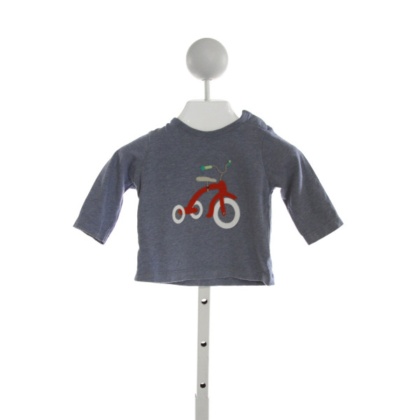 BABY BODEN  BLUE   EMBROIDERED KNIT LS SHIRT