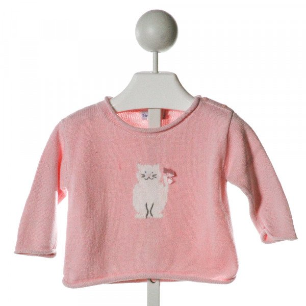 FLORENCE EISEMAN  PINK   EMBROIDERED SWEATER