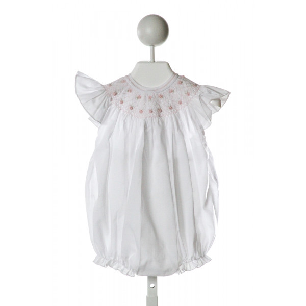 FELTMAN BROTHERS  WHITE   SMOCKED BUBBLE WITH RUFFLE