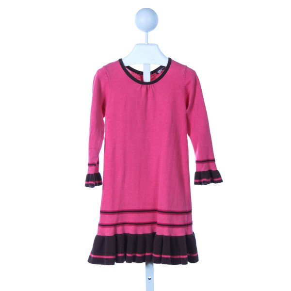 RABBIT MOON HOT PINK AND BROWN SWEATER KNIT DRESS