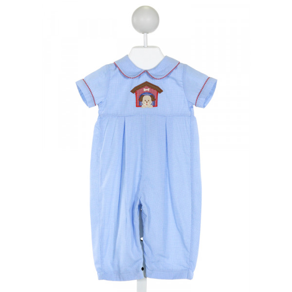 PETIT BEBE  BLUE  MICROCHECK EMBROIDERED LONGALL/ROMPER