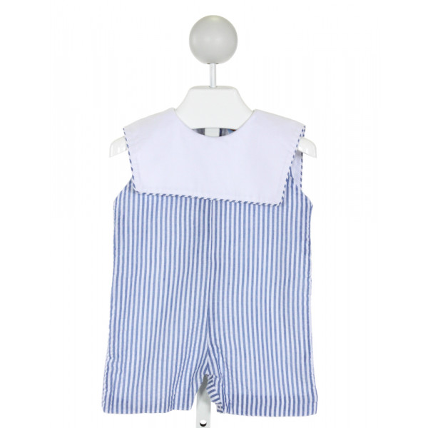 THE SMOCKING BUG  BLUE SEERSUCKER STRIPED  JOHN JOHN/ SHORTALL