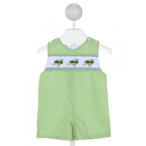 BE MINE  LT GREEN  GINGHAM SMOCKED JOHN JOHN/ SHORTALL