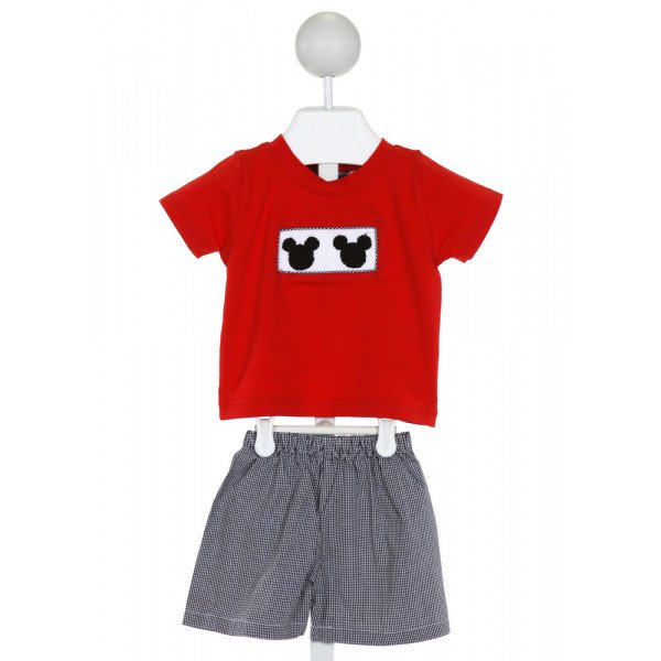 THE SMOCKING BUG  RED   SMOCKED 2-PIECE OUTFIT