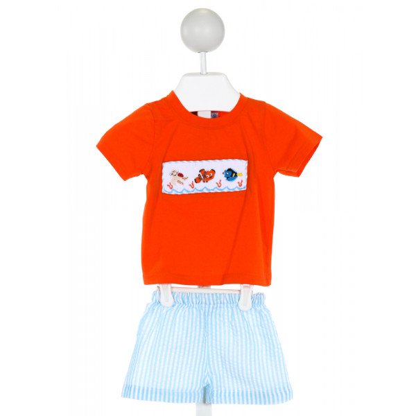 THE SMOCKING BUG  ORANGE   SMOCKED 2-PIECE OUTFIT