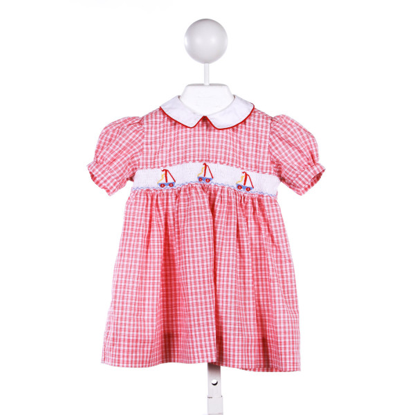 COLLECTION BEBE RED GINGHAM DRESS WITH SMOCKED BOATS