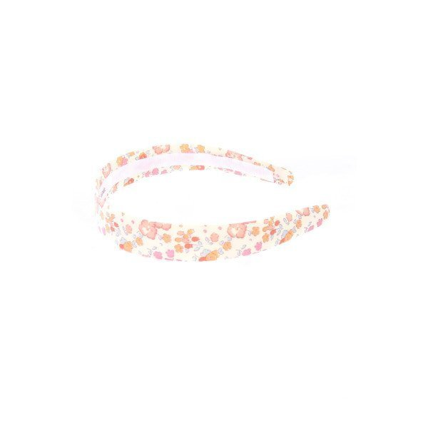 LOLO IVORY AND PINK LIBERTY FLORAL PRINT SKINNY HEADBAND