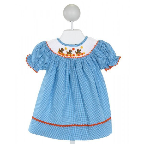 THE SMOCKING BUG  LT BLUE  GINGHAM SMOCKED DRESS WITH RIC RAC