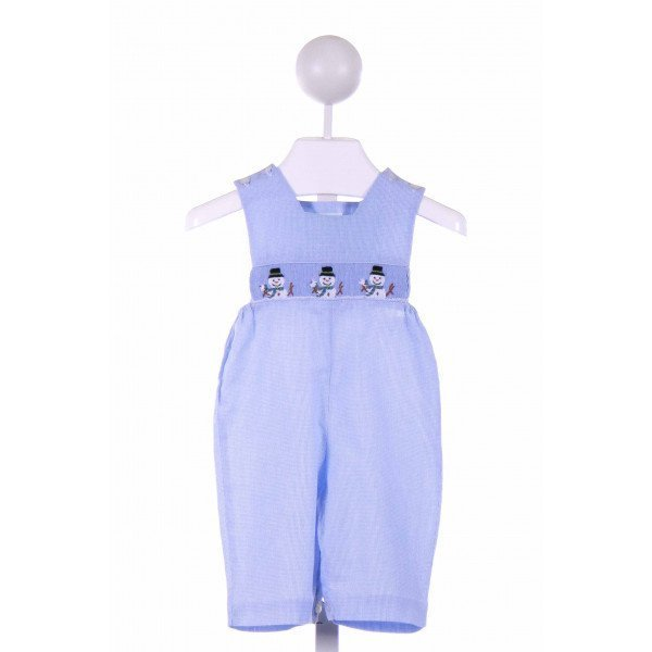 COLLECTION BEBE  BLUE  MICROCHECK SMOCKED ROMPER