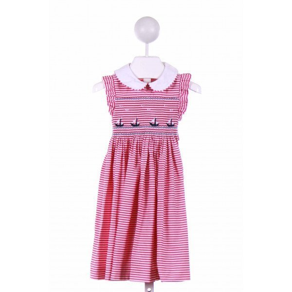 EMILY LACEY  PINK  STRIPED SMOCKED CASUAL DRESS