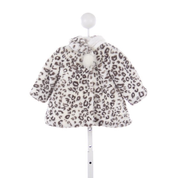 AMERICAN WIDGEON GRAY AND WHITE LEOPARD PRINT FAUX FUR COAT