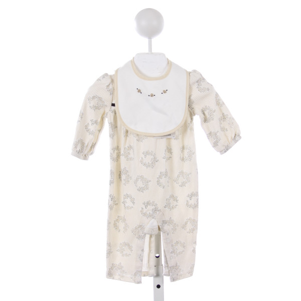 JANIE AND JACK IVORY AND BLACK ROSE PATTERN KNIT ROMPER WITH MATCHING BIB *SIZE 3-6 MONTHS