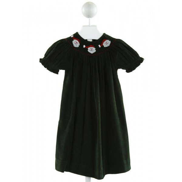 SILLY GOOSE  FOREST GREEN CORDUROY  SMOCKED DRESS WITH RUFFLE