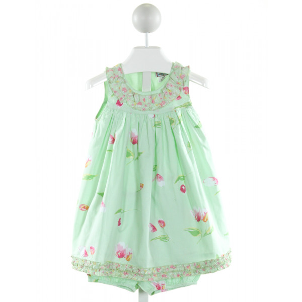 COTTON KIDS  MINT  FLORAL  2-PIECE OUTFIT WITH RUFFLE