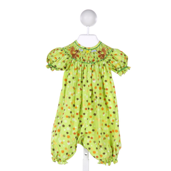 MOM & ME  LT GREEN  FLORAL SMOCKED ROMPER WITH RUFFLE