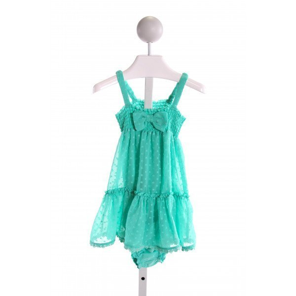 KATE SPADE  GREEN  SWISS DOT SMOCKED 2-PIECE OUTFIT WITH RUFFLE