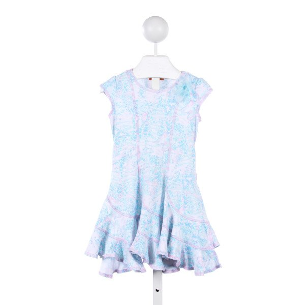 KATE MACK BLUE AND PINK BUTTERFLY KNIT DRESS WITH AQUA FLOWER *SLIGHT IMPERFECTION (LIGHT WASH WEAR)