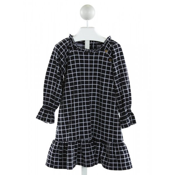 BUSY BEES  NAVY  WINDOWPANE  KNIT DRESS WITH RUFFLE