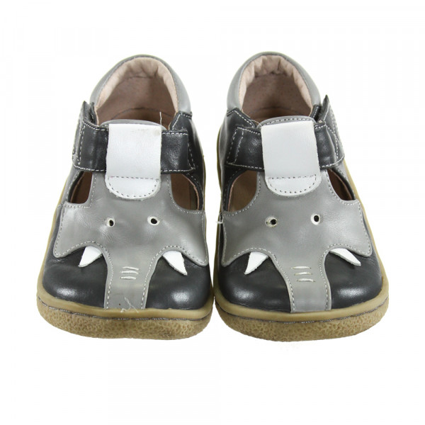 LIVIE & LUCA GRAY ELEPHANT SHOES *SIZE TODDLER 9, VGU - VERY LIGHT SCUFF MARKS ON TOES AND A COUPLE SPOTS OF DISCOLORATION