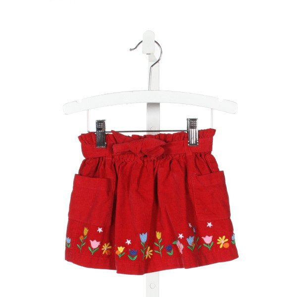 HANNA ANDERSSON  RED CORDUROY  EMBROIDERED SKIRT WITH RUFFLE