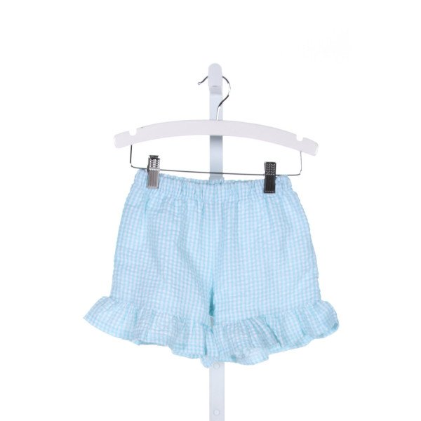 BLANKS BOUTIQUE  LT BLUE  GINGHAM  SHORTS WITH RUFFLE