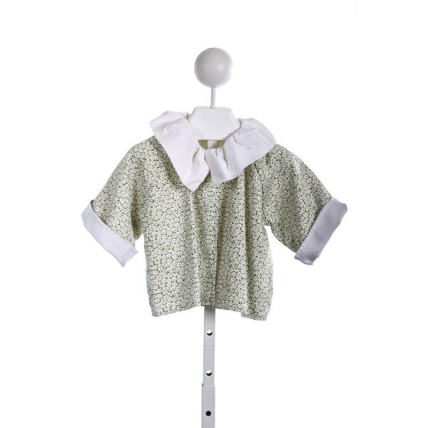 TWO GIRLS AND A BOY GREEN AND CREAM FLORAL JACKET WITH IVORY CORD COLLAR AND LINING