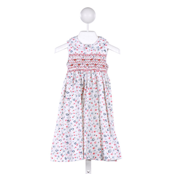 SOPHIE DESS  WHITE  FLORAL SMOCKED CASUAL DRESS