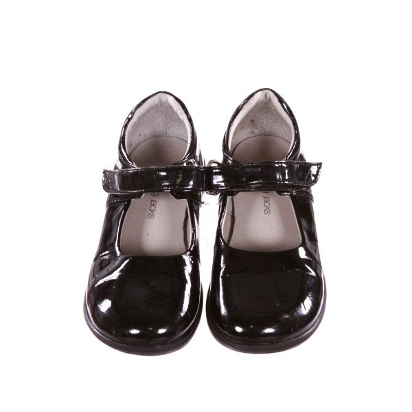 JUMPING JACKS BLACK SHINY LEATHER SHOES *SIZE 10M, VGU - LIGHT SCUFFING